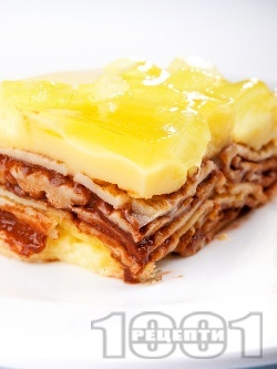 Палачинкова торта с нишестен крем ванилия, шоколад, сметана и алое вера (с желатин) - снимка на рецептата
